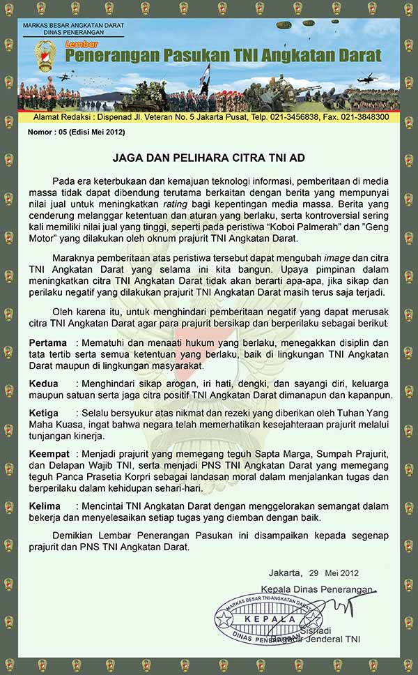 Jaga dan Pelihara Citra TNI AD