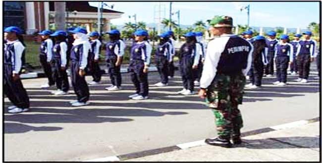 Prajurit Satgas Pamtas Yonif 413 Kostrad Latih Paskibra Di Perbatasan Kaltim
