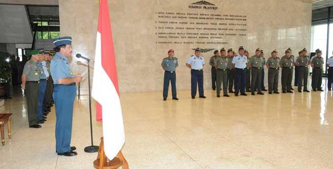 Panglima TNI Terima Laporan Korps Kenaikan Pangkat 14 Pati TNI