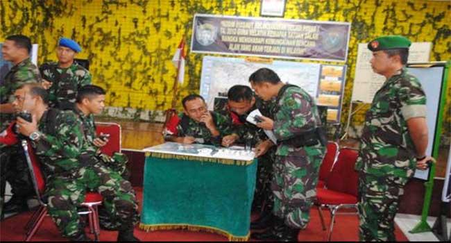 Kodim 0103/Aceh Utara Melaksanakan Latihan Gladi Posko I Penanggulangan Bencana Alam