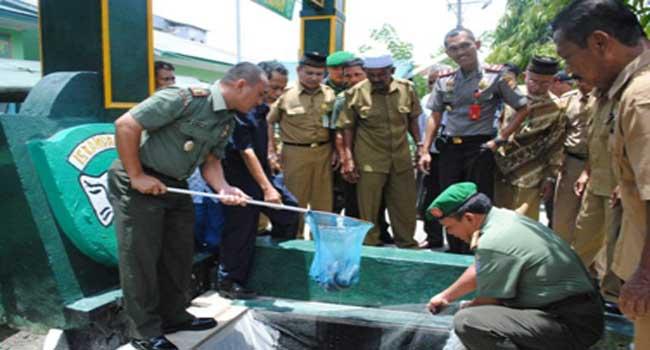 Kodim 0103/ Aceh Utara Bersama Tokoh Masyarakat Laksanakan Panen Lele