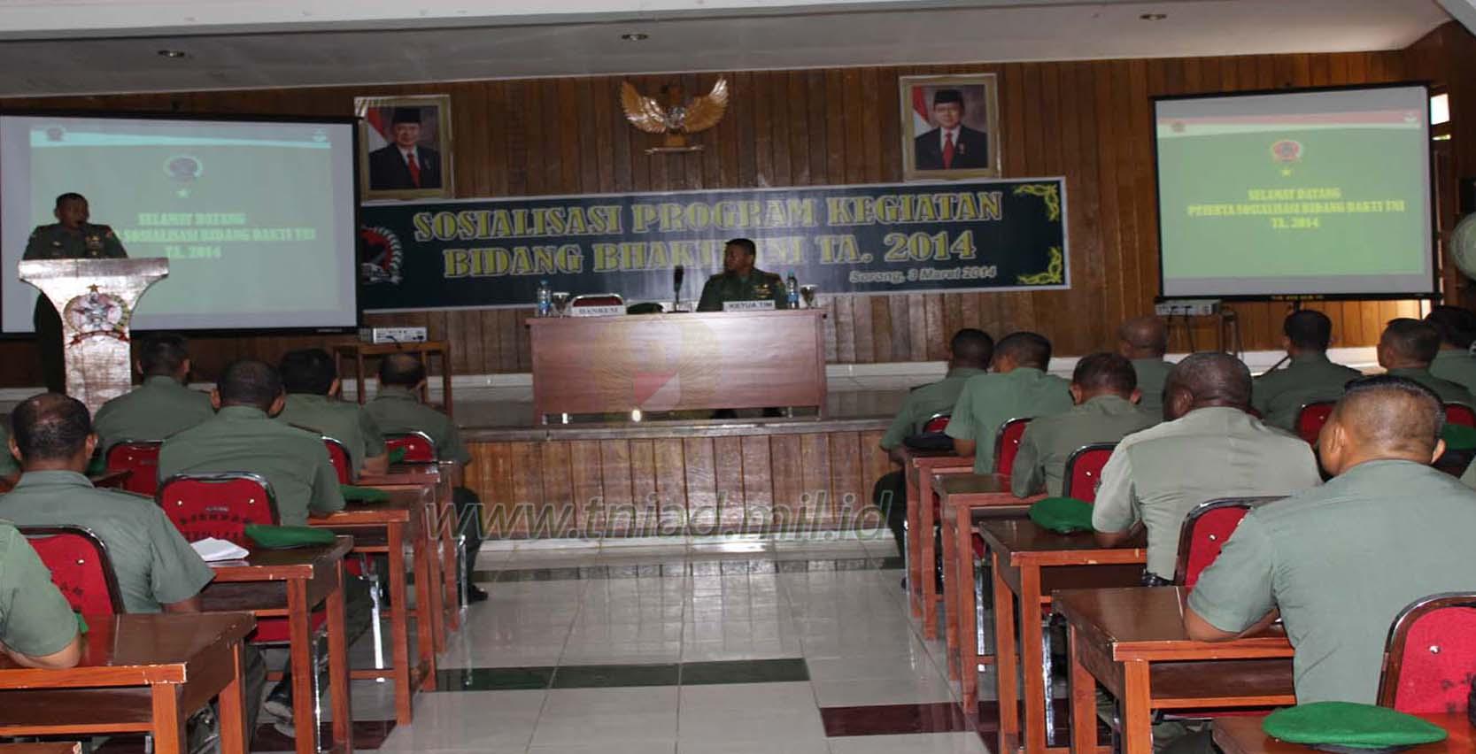 DANREM 171/PVT MEMBUKA SOSIALISASI PROGRAM BIDANG BHAKTI TNI TA. 2014
