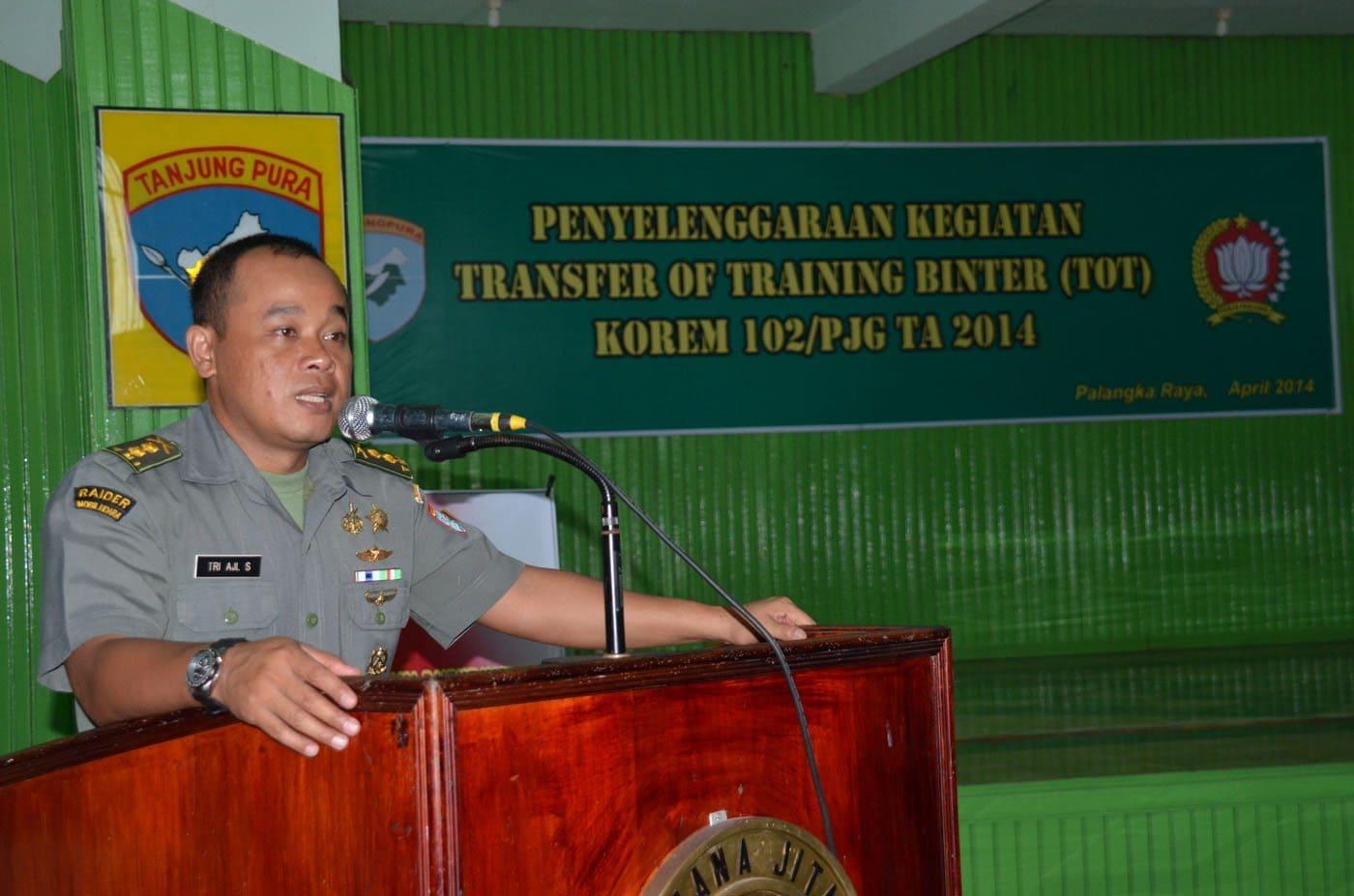Kegiatan Transfer Of Training (TOT) Pembinaan Teritorial di Jajaran Korem 102/Pjg Tahun 2014