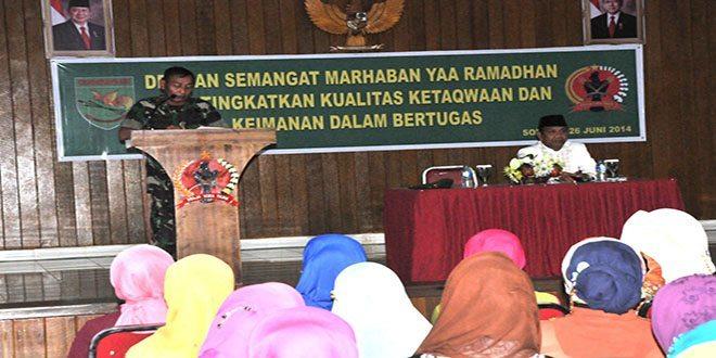 Prajurit Korem 171/Pvt Laksanakan Ceramah Agama Menyambut Bulan Suci Ramadhan 1435 H/2014 M