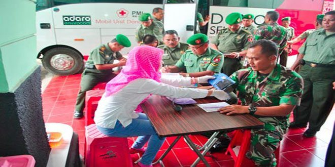 Anggota Kodim 1007/Bjm Ikut Donor Darah