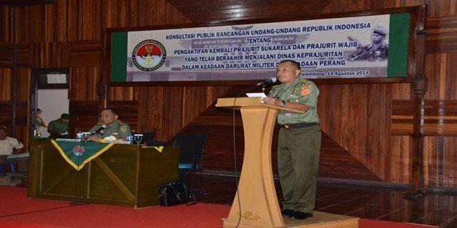 Danrem 044/Gapo Membuka Acara Konsultasi Publik RUU Tentang Pengaktifan Kembali Mantan Prajurit TNI Dalam Keadaan Darurat Militer dan Keadaan Perang