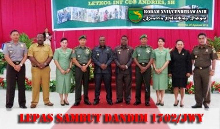 Acara Lepas Sambut Komandan Distrik Militer 1702/JWY Dari Letkol Inf Yusuf Sampetoding Kepada Letkol Inf C.D.B. Andrias, S.H.