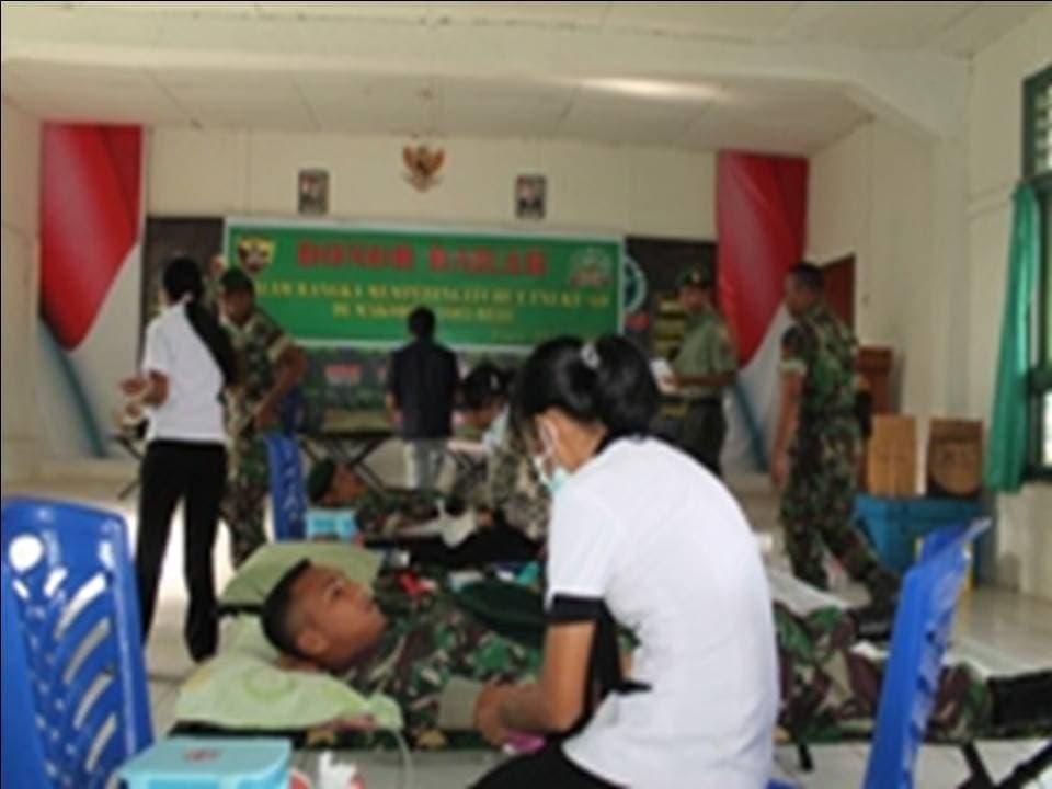 DALAM RANGKA HUT TNI KE-69 YONIF/744 SYB LAKSANAKAN DONOR DARAH DI MAKODIM 1605/BELU