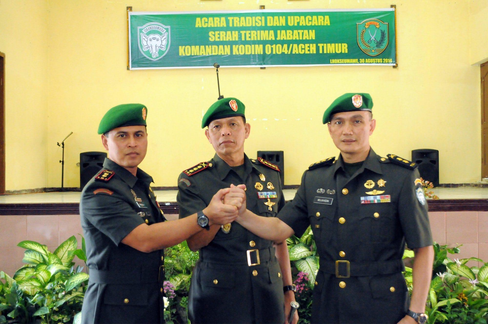 Jabatan Dandim 0104 Atim Diserah Terimakan Danrem 011/Lw Terima Tiga Perwira Baru