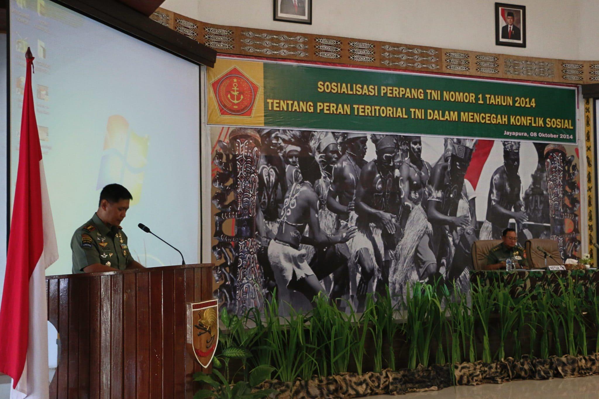Sosialisasi Peraturan Panglima (Perpang) TNI Nomor 1 Tahun 2014 Tentang Peran Teritorial TNI Dalam Mencegah Konflik Sosial