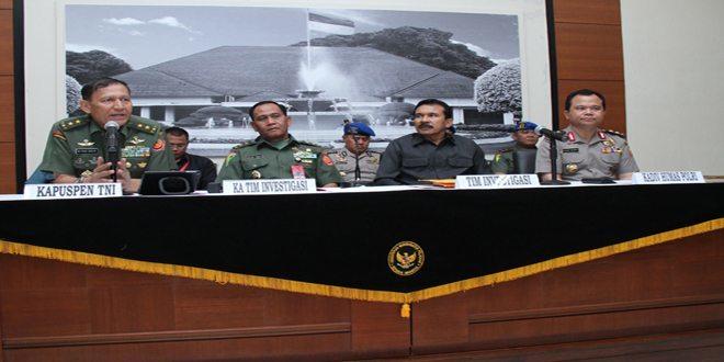 Kapuspen TNI Sampaikan Hasil Temuan Tim Investigasi