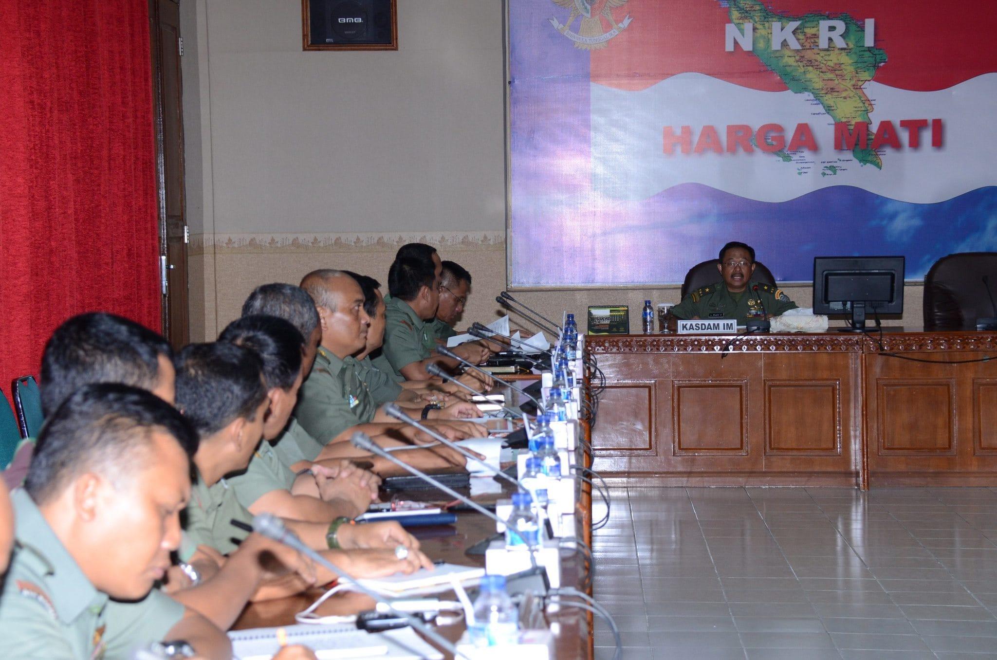 Kasdam Terima Paparan RGB Karya Bhakti TNI Skala Besar Kodam IM