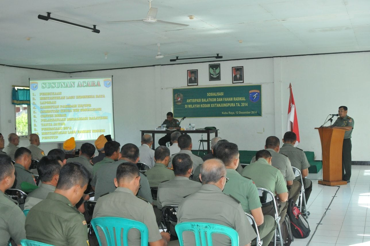 Prajurit Kodam XII/Tanjungpura Ikuti Sosialisasi Antisipasi Balatkom dan Faham Radikal TA. 2014
