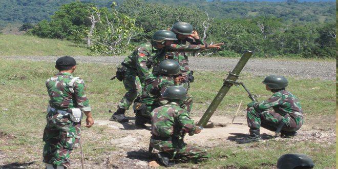 Yonif 112/Raider Latihan Menembak Senjata Lintas Lengkung