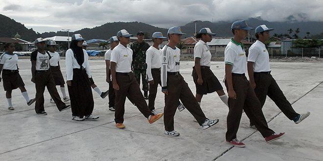 Koramil 1709-01/Yapsel Laksanakan Pelatihan Paskibraka Kabupaten Kepulauan Yapen