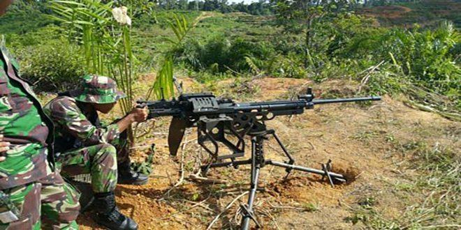 Yonif 614/Rjp Melaksanakan Latihan Menembak Senjata Kelompok Lintas Datar