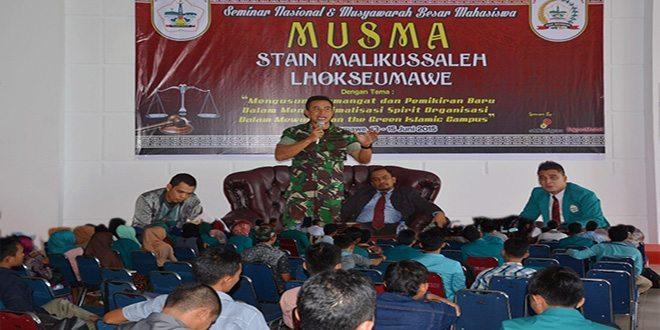 Kasrem 011/LW Beri Materi Seminar Nasional Musyawarah Besar Mahasiswa