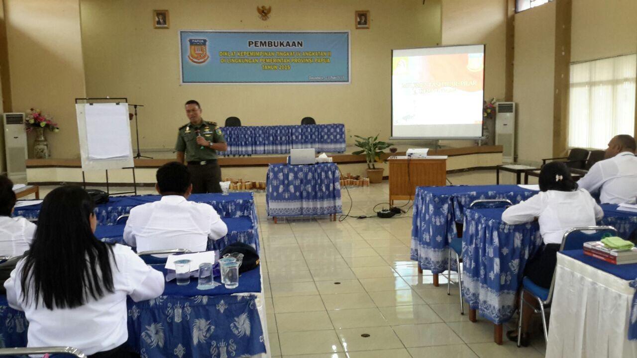 Peserta Diklatpim Provinsi Papua Menerima Pembekalan Pilar-pilar Kebangsaan Dari Korem 172/PWY