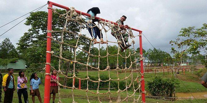 Kodim 1711/BVD Latih Outbound Saka Wira Kartika Kwarcab 2612 Bung Hatta Kab. Boven Digoel
