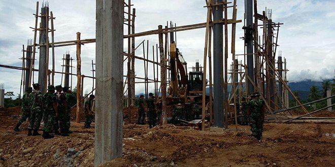 Yonif 752/Vys Laksanakan Karya Bhakti Pembangunan Masjid Kampung Anday Distrik Manokwari Selatan