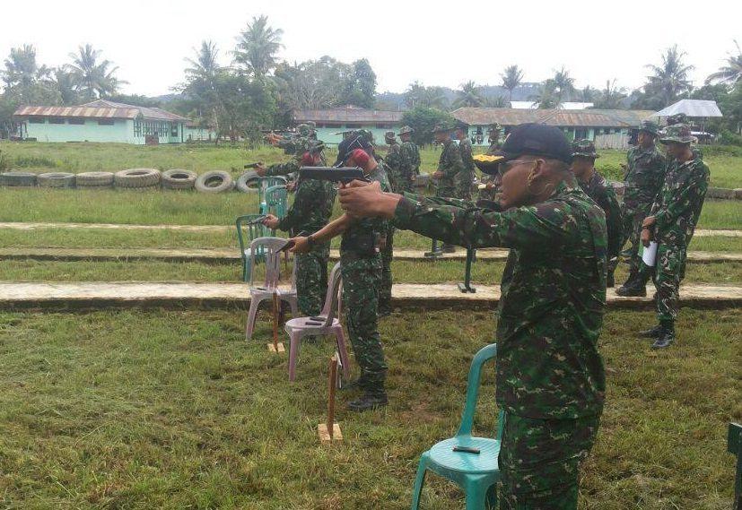 Yonif 752/VYS laksanakan tembak Pistol triwulan II.