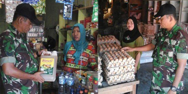 Personel Koramil 1509-01/Bacan Cek Harga Sembako Pasar Labuha