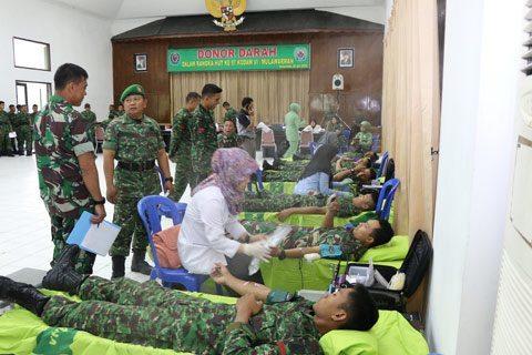 Donor Darah Di Korem 091/Asn Terkumpul 115 Kantong Darah