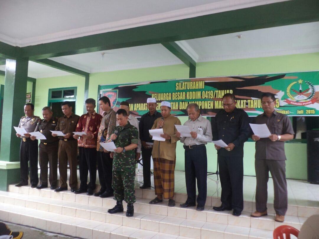 Dandim 0419/Tanjab Gelar Silaturahmi Dan Pernyataan Sikap Bersama Pimpinan Lintas Agama Dan Golongan