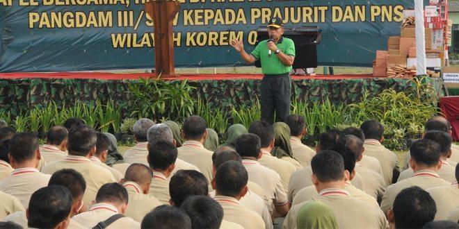 Korem 063/Sgj Adakan Apel Bersama Dan Halal Bihalal Serta Pengarahan Pangdam III/Siliwangi Se – Wilayah III Cirebon