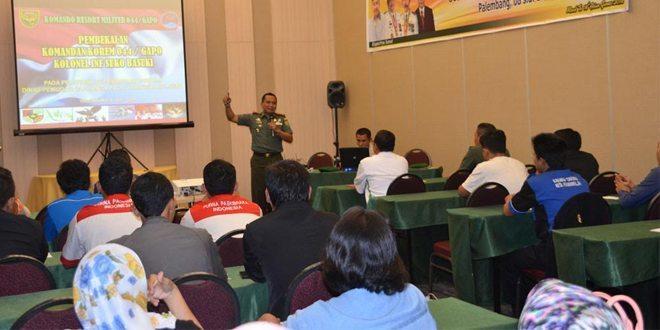 Danrem 044/Gapo Beri Pelatihan Kepemimpinan Pemuda Sumsel