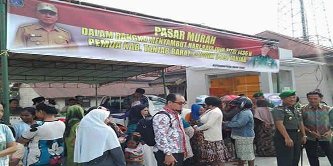 Kodim 0419/Tanjab Gelar Pasar Murah Jelang Hari Raya Idul Fitri 1436 H