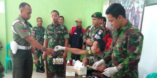 Prajurit Jajaran Kodim 0106/Ateng Menjalani Tes Urine