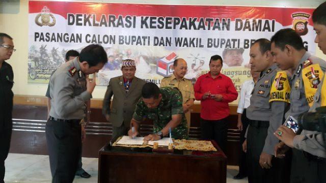Dandim 1202/Skw Hadiri Deklarasi Kesepakatan Damai Pilkada Bengkayang
