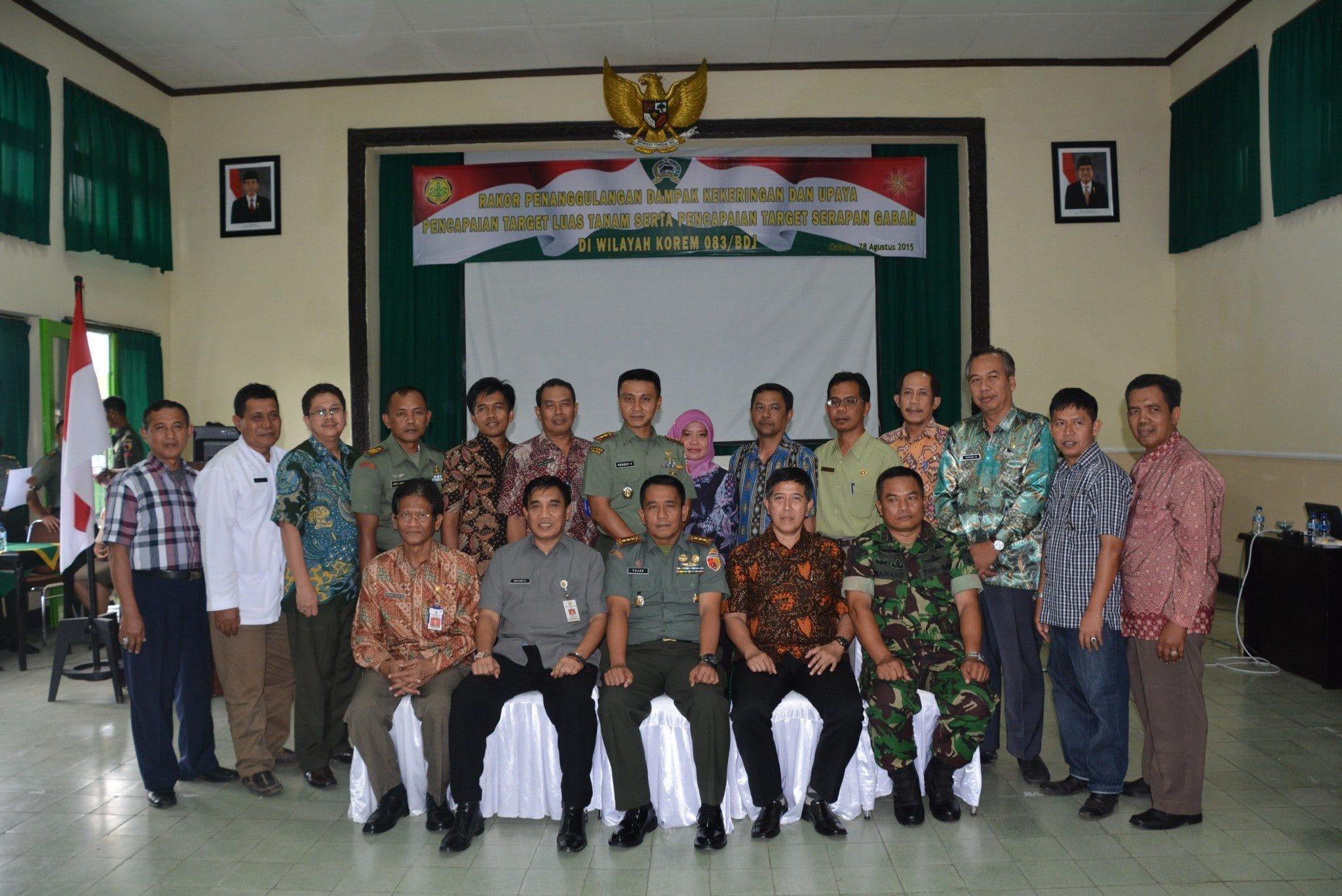 Danrem 083/Bdj Pimpin Rakor Penanggulangan Dampak Kekeringan Serta Pencapaian Target Serapan Gabah