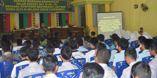 Dandim 0109/Singkil Isi Seminar Wawasan Kebangsaan Di Pemkot Subulussalam