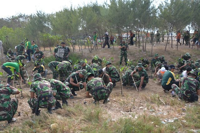 Penanaman Pohon Bakau Peringatan Ke-70 Hari TNI