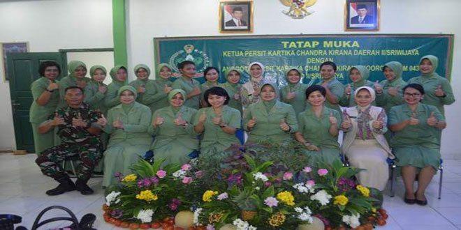 Ibu Ketua Persit PD/Sriwijaya Beri Pengarahan Kepada Anggota Persit Jajaran Korem 043/Gatam