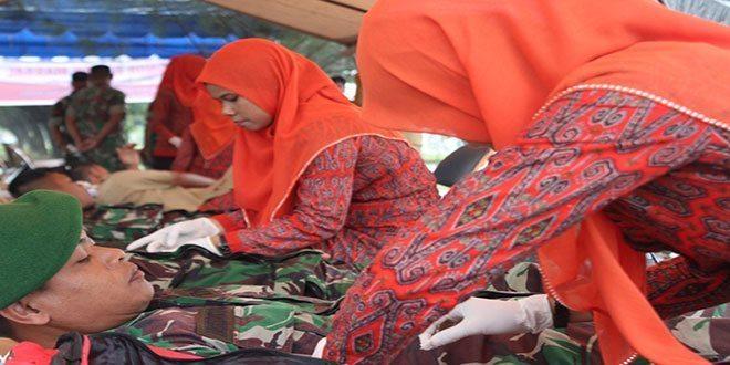 HUT Kabupaten Bireuen ke 16, Yonif 113/JS Donor Darah