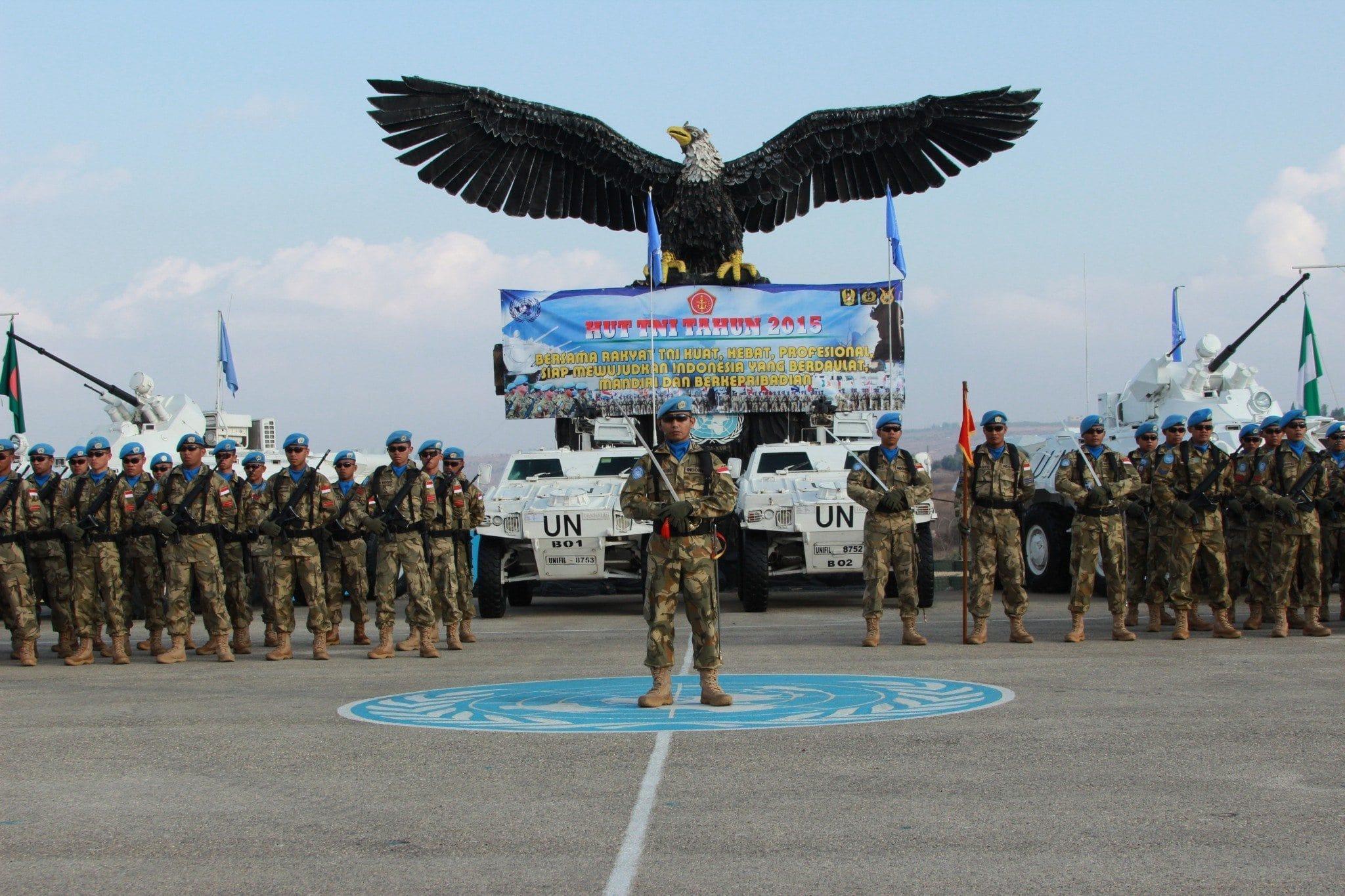 Pasukan Garuda Peringati HUT Ke-70 TNI Di Lebanon