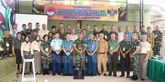 Jajaran Korem 043/Gatam Dan Kalangan Industri Ikuti Sosialisasi Kodifikasi Sistem NSN Dan Permenhan No. 04 Tahun.2014