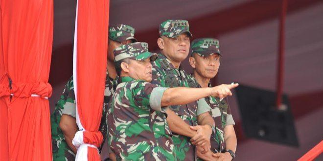 Panglima TNI Beserta Para Kepala Staf Angkatan Tinjau Gladi Bersih HUT TNI ke 70 di Cilegon