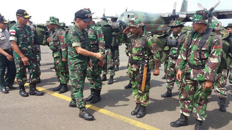 1 SSK Satgas Penanggulangan Kabut Asap Yonif 754/ENK Tiba Di Papua Selatan