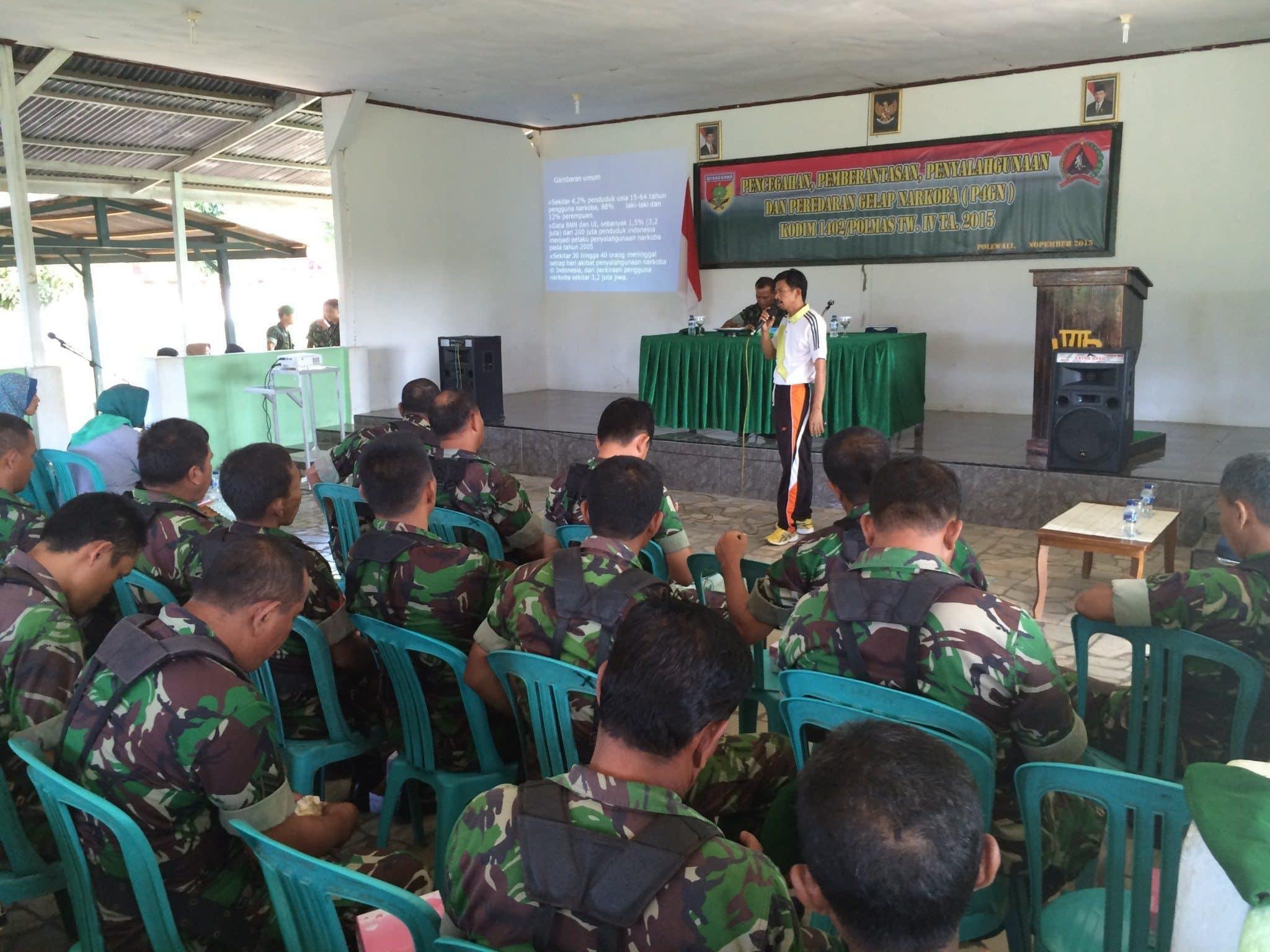Kodim 1402/Polmas Laksanakan Penyuluhan P4GN Kepada Prajurit dan PNS serta Persit.