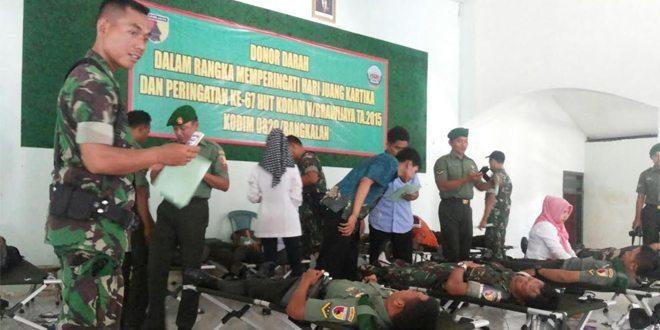 Peringati HJK ke 70 dan HUT Kodam V/Brawijaya ke 67 Kodim Bangkalan Gelar Donor Darah