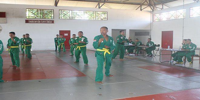 Korem 072/Pamungkas Uji Kenaikan Sabuk Beladiri Militer Jajaranya