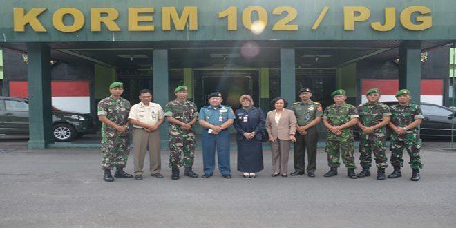 Korem 102/Pjg Terima Kunjungan Staf Kemenhan RI