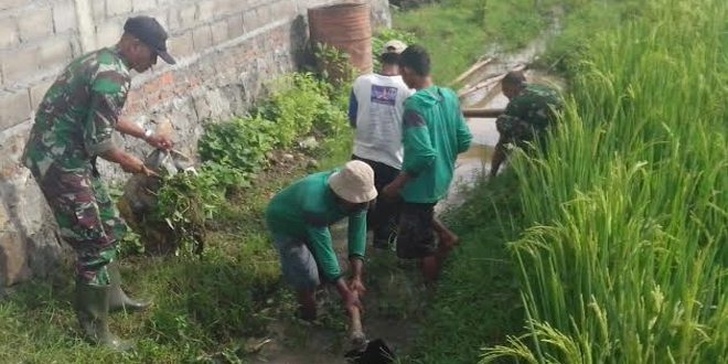 Babinsa Karanganyar Ngawi Bantu Petani Bersihkan Saluran Irigasi