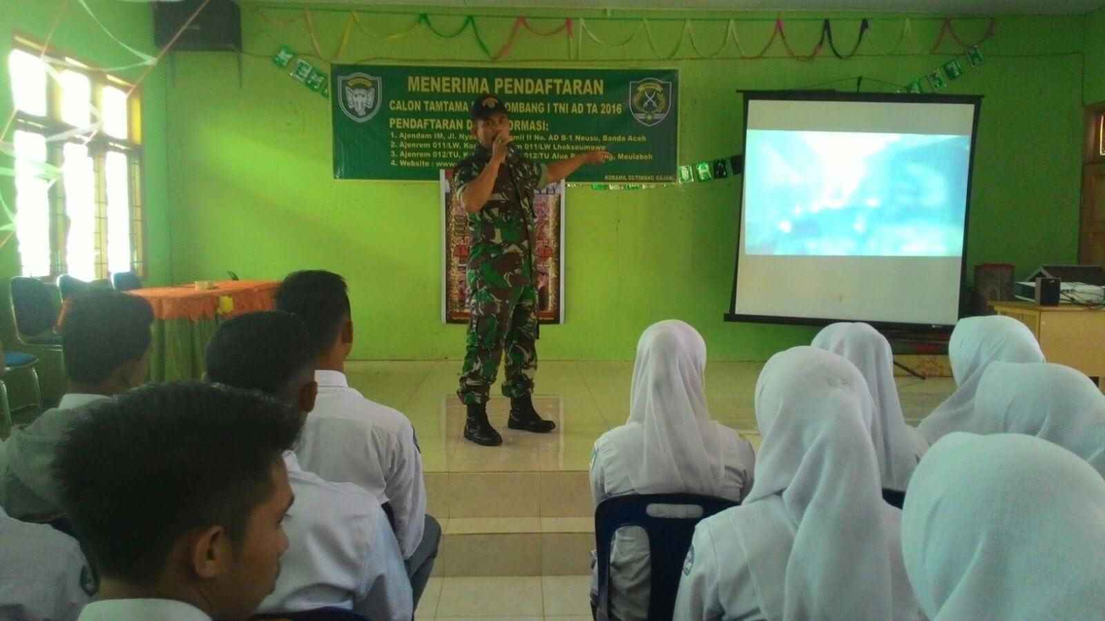 Kodim 0106/Ateng – BM Sosialisasi Rekrutmen Prajurit TNI Ke Sekolah Se Aceh Tengah – Bener Meriah