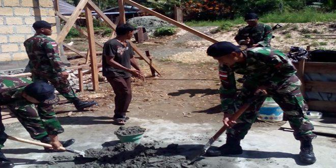 Satgas Pamtas RI-PNG Yonif Raider 411 Kostrad Gelar Karya Bhakti
