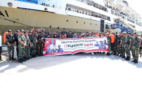 Kedatangan Satgas Ekspedisi NKRI Koridor Papua Barat 2016 di kota Sorong Prov. Papua Barat
